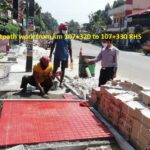 24.11.20-Fixing of tiles for footpath work from km 107+320 to 107+330 RHS