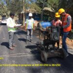 09.02.21-DBM layer Core Cutting in progress at KM 45+250 to 46+250 RHS