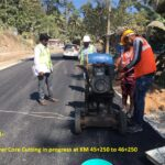 09.02.21-DBM layer Core Cutting in progress at KM 45+250 to 46+250 RHS..