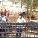 17.02.21-Steel reinforcement cage checking for pile at 69+232 Minor Bridge A2 abutment (Pile No.P1)