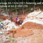 Package 8A-13-04-2021-Retaining wall works in progress at km.2+000 LHS