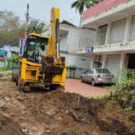 Package 8A-Earthworks for drain in progress at Km. 6+410 LHS-25-05-2021